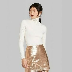 Wild Fable Ribbed Turtleneck Long Sleeve Cream XS